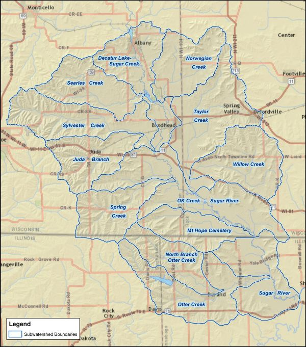 Lower Sugar River Subwatersheds